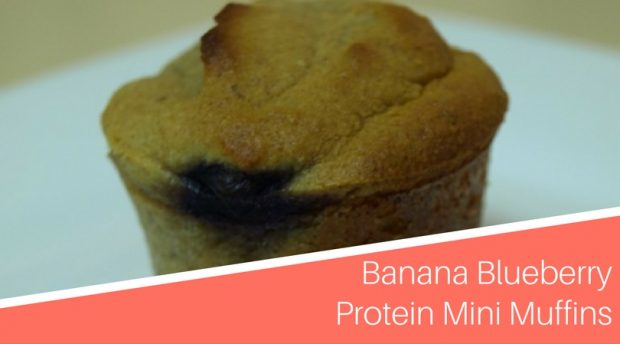 High Protein Recipes - Banana Blueberry Protein Mini Muffins